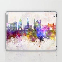 Lublin skyline in watercolor background Laptop & iPad Skin