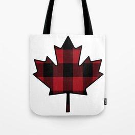 Plaid Maple Leaf Tote Bag