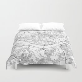 Seoul White Map Duvet Cover