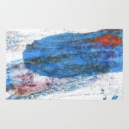 Steel blue colored wash drawing texture Rug