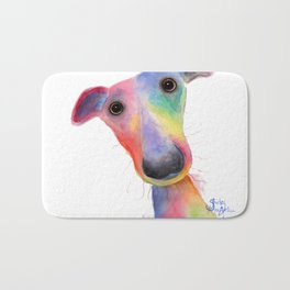 Nosey Dog Whippet / Greyhound ' HANK ' by Shirley MacArthur Bath Mat
