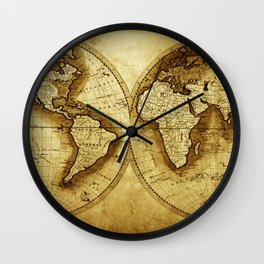 Antique Map of the World Wall Clock