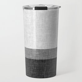 Black and White Graphic Burlap Pattern Stripe Travel Mug