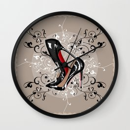 Red Bottom shoes with delicate lace Wall Clock