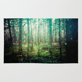 Magical Green Forest - Nature Photography Rug