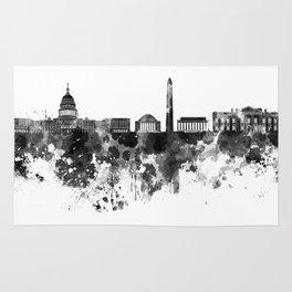 Washington DC skyline in black watercolor on white background  Rug
