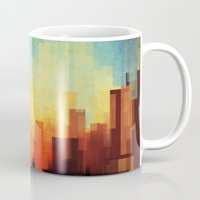 buildings Mugs featuring Urban sunset by SensualPatterns