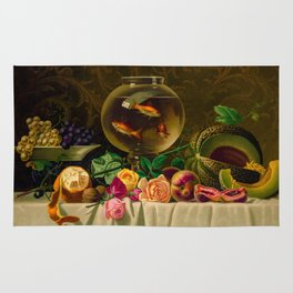 Goldfish bowl on a table with fruit and flowers Rug