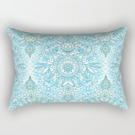 Turquoise Blue, Teal & White Protea Doodle Pattern Rectangular Pillow
