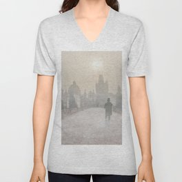 Prague in the morning fog Unisex V-Neck