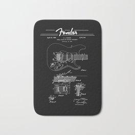 Strato Guitar- Tremolo Patent Diagram - Rock - Blues - Music Bath Mat