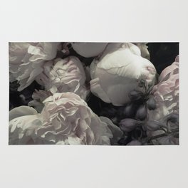 Peonies pale pink and white floral bunch Rug