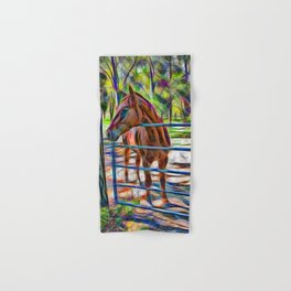 Abstract horse standing at gate Hand & Bath Towel