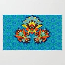 blue Persian pool and red lotus Rug