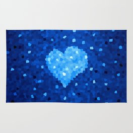 Winter Blue Crystallized Abstract Heart Rug