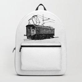 Old City Tram Carriage Detailed Illustration Backpack