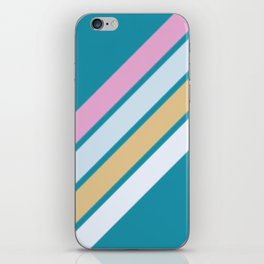 Pink White and Blue Stripes iPhone Skin