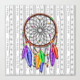 Dreamcatcher Rainbow Feathers Canvas Print
