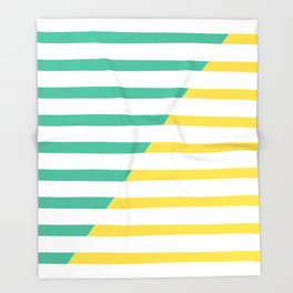 Beach Stripes Green Yellow Throw Blanket