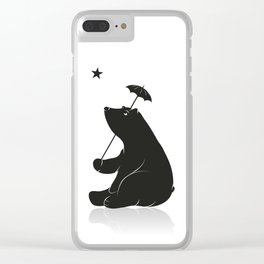 Bear with umbrella Clear iPhone Case