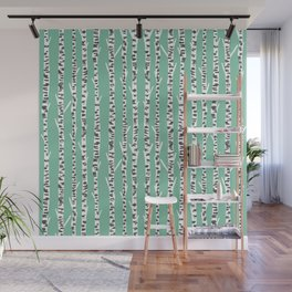 Birch Tree northwest minimal forest woodland nature pattern by andrea lauren Wall Mural