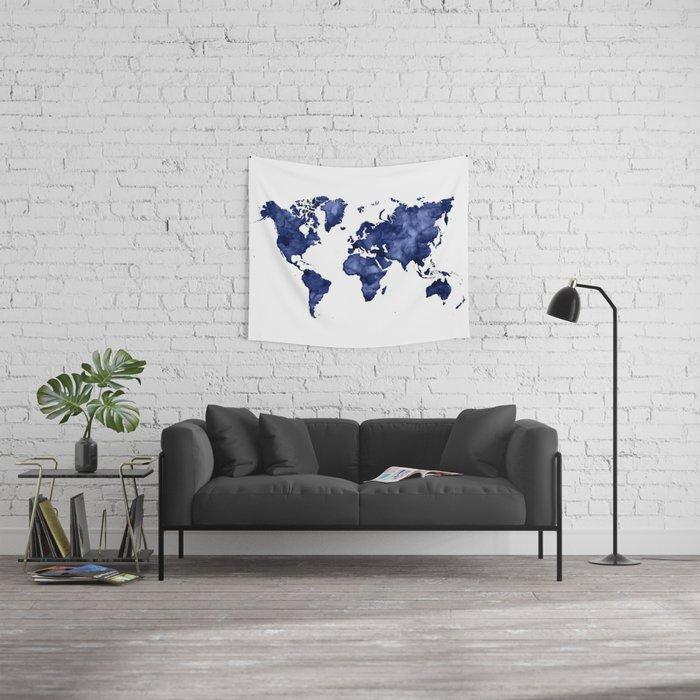 Dark navy blue watercolor world map wall tapestry by blursbyaishop dark navy blue watercolor world map wall tapestry gumiabroncs Image collections