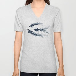 Orca in Motion / blush ocean pattern Unisex V-Neck