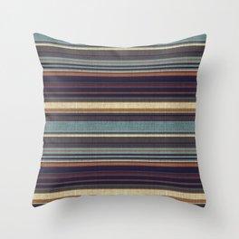 """Blue lines burlap"" Throw Pillow"