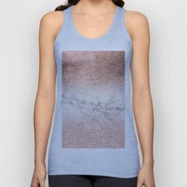 Modern faux rose gold glitter and foil ombre gradient on white marble color block Unisex Tank Top