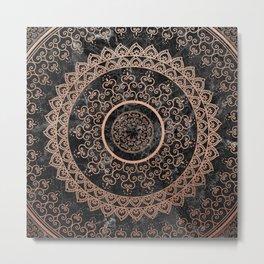 Mandala - rose gold and black marble Metal Print