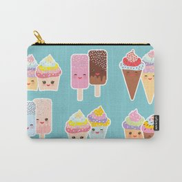 Kawaii cupcakes, ice cream in waffle cones, ice lolly Carry-All Pouch