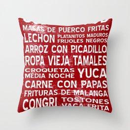 Cuban Food Word Food Art Poster (Red) Throw Pillow