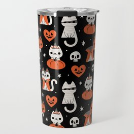 Halloween Kitties (Black) Travel Mug