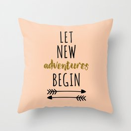 New Adventures Travel Quote Throw Pillow