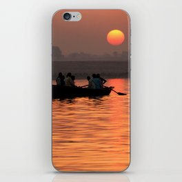 Rowing Boat on the Ganges at Sunrise iPhone Skin