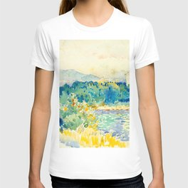 Mediterranean Landscape With a White House Watercolor Landscape Painting T-shirt