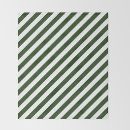 Large Dark Forest Green and White Candy Cane Stripes Throw Blanket
