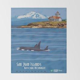 Vintage poster - San Juan Islands Throw Blanket