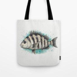 """Sheepshead Splash"" by Amber Marine ~ Watercolor Fish Painting (Copyright 2016) Tote Bag"