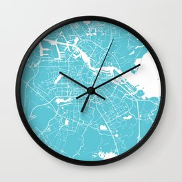 Amsterdam Turquoise on White Street Map Wall Clock