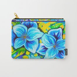 Blue Poppies 3 with Border Carry-All Pouch