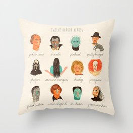 Twelve Horror Heros  Throw Pillow