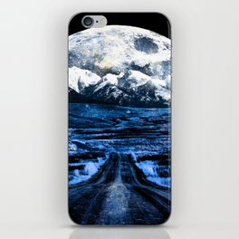 Road to Eternity (blue vintage moon mountain) iPhone Skin