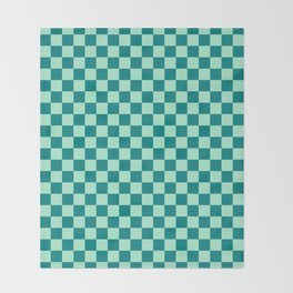 Magic Mint Green and Teal Green Checkerboard Throw Blanket