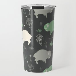 Seamless pattern with cute baby buffaloes and native American symbols, dark gray Travel Mug