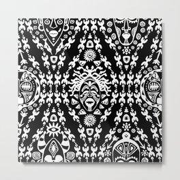 Ethnic African Tribal pattern on black Metal Print
