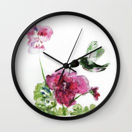 Chuparosa checking out all the Pink Pink Hollyhocks by CheyAnne Sexton Wall Clock
