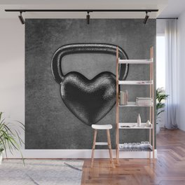 Kettlebell heart / 3D render of heavy heart shaped kettlebell Wall Mural