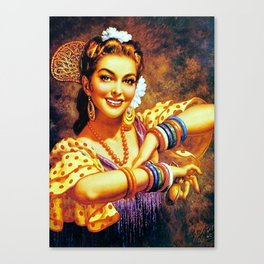 Jesus Helguera Painting of a Mexican Calendar Girl with Bangles Canvas Print