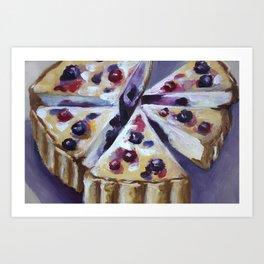 Desert, cake, food, original oil painting Art Print
